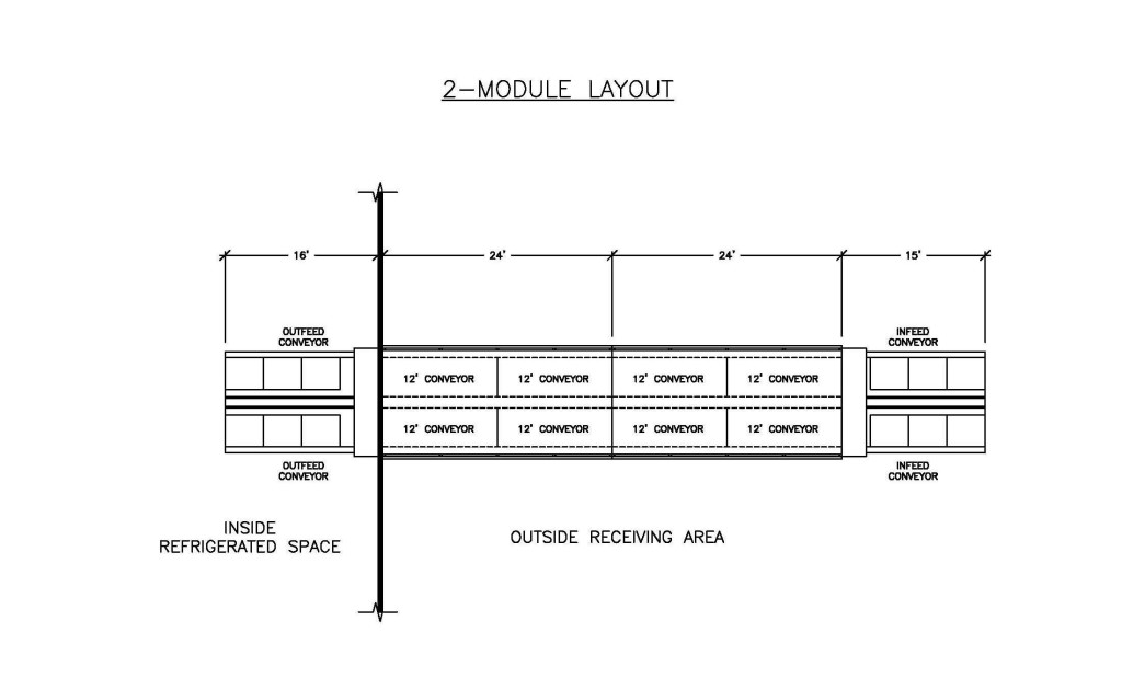 A plan view drawing of a 2-module MACS Cooler inserted into refrigerated space
