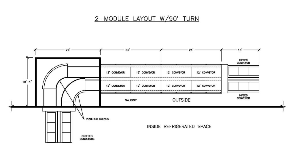 plan view of how a MACS Cooler can transfer precooled produce into a cold room via 90 degree turn conveyors