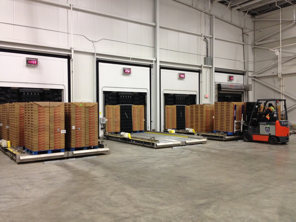 a view of 4 MACS Coolers from the cold room, unloading precooled strawberries at Western Precooling in Oxnard, CA